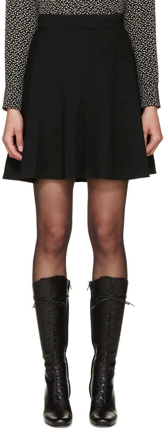Saint Laurent Black Crêpe Flare Skirt