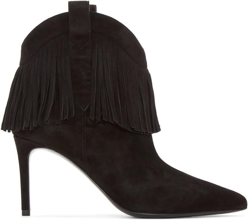 Saint Laurent Black Suede Fringed Paris Boots