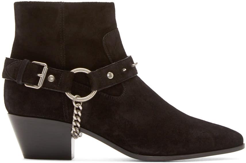 Saint Laurent Black Suede Studded Harness Wyatt Boots