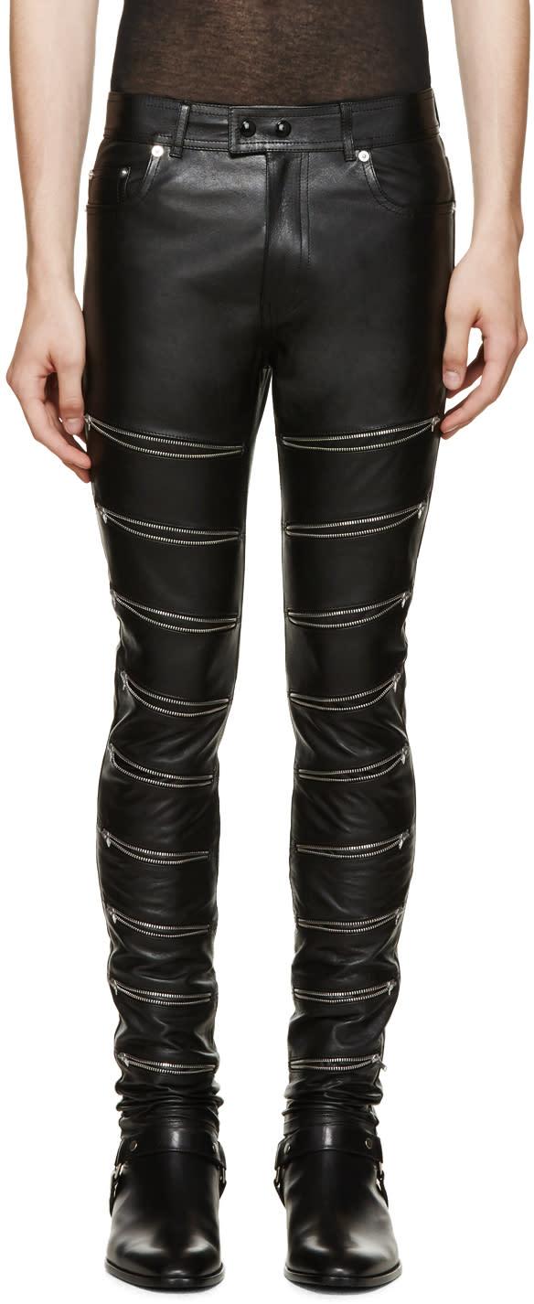 Saint Laurent Black Leather Zip Trousers
