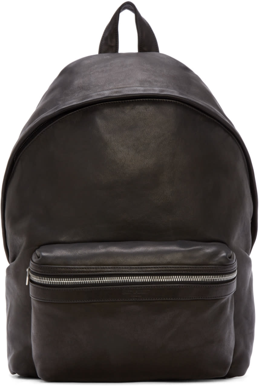 Saint Laurent Black Textured Leather Backpack