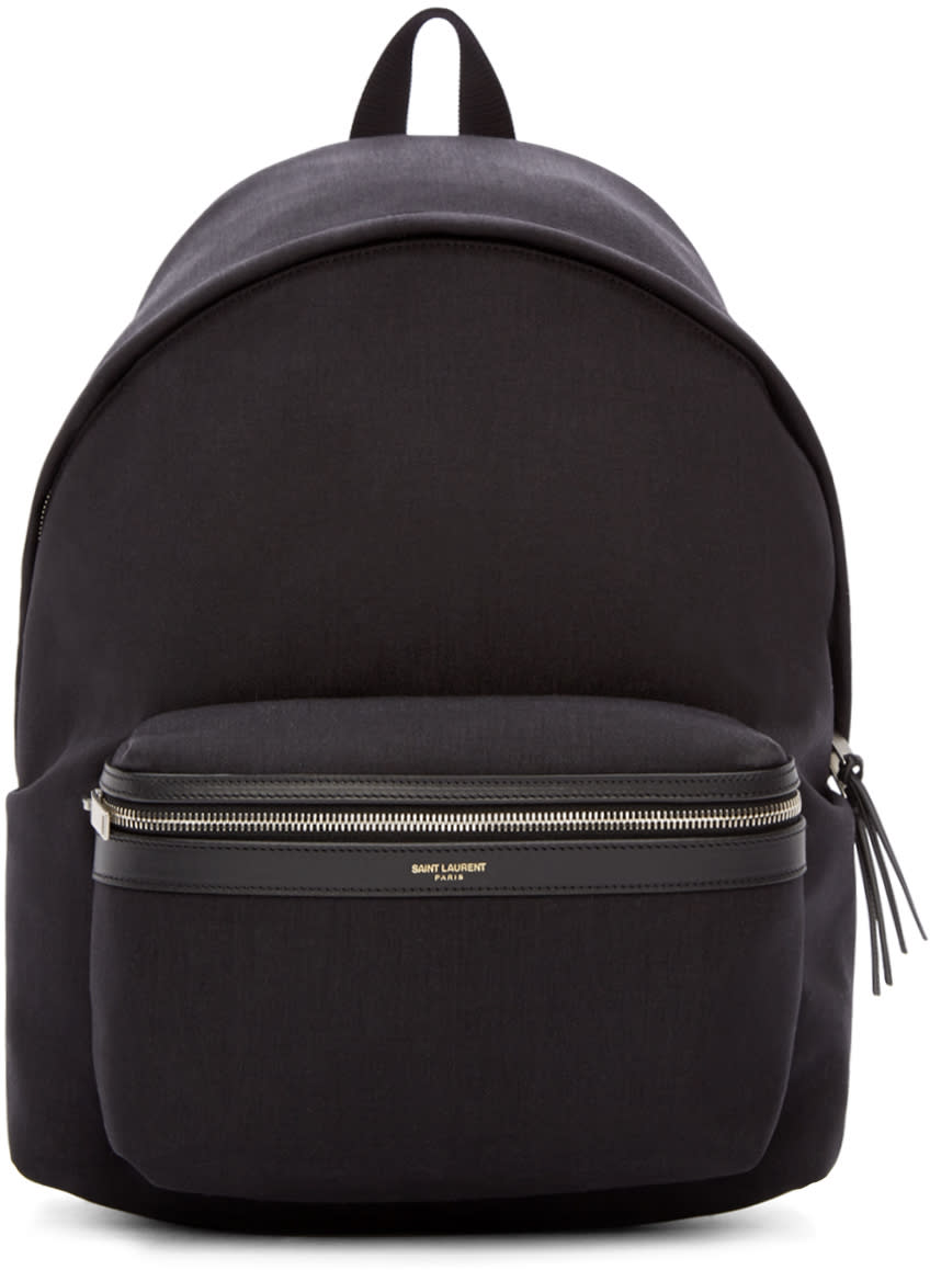 Saint Laurent Black Canvas and Leather Classic Hunter Backpack