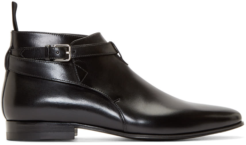 Black Leather London Ankle Boots