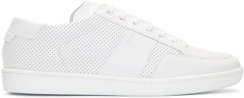 Saint Laurent White Perforated Leather Sneakers