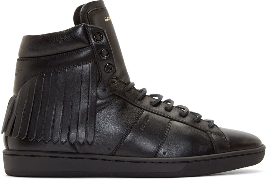 Black Leather Fringed Sneakers