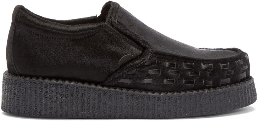Underground Black Calf-hair Creeper Loafers