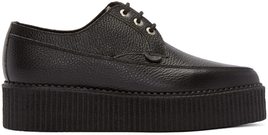 Underground Black Leather Lace-up Billy Creepers