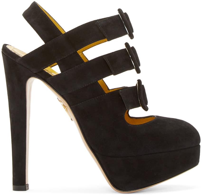 Charlotte Olympia Black Suede Lyvia Heels