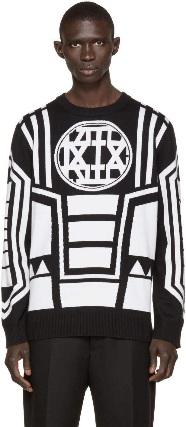 Ktz Black and Ivory Knit Logo Sweater