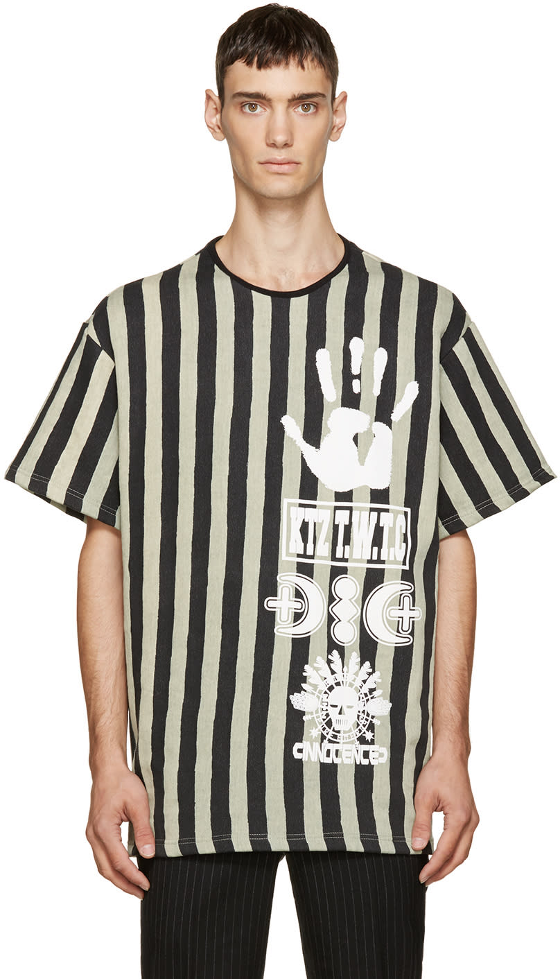 Image of Ktz Black and Beige Striped Logo T-shirt