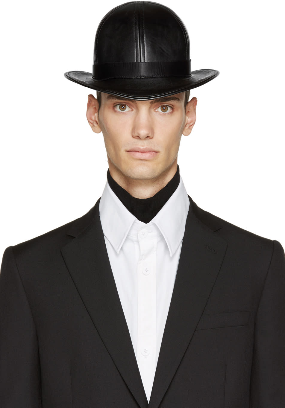 Ktz Black Faux-leather Short Bowler Hat