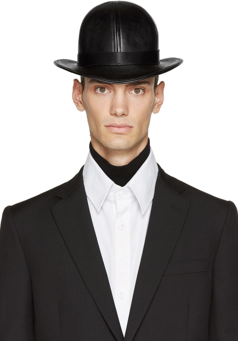 Image of Ktz Black Faux-leather Short Bowler Hat