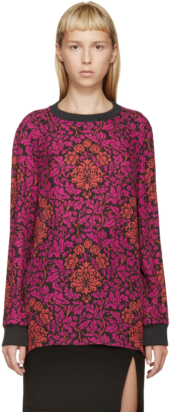 Image of Mary Katrantzou Fuchsia and Red Silk Floral Shirt