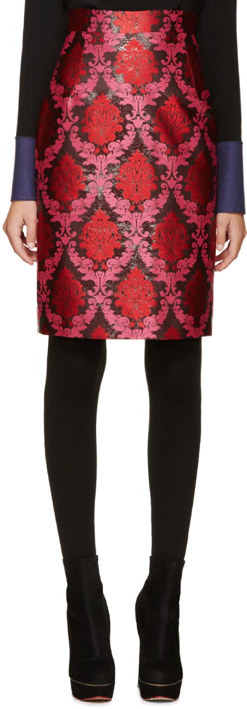 Mary Katrantzou Pink and Red Lurex Pencil Skirt