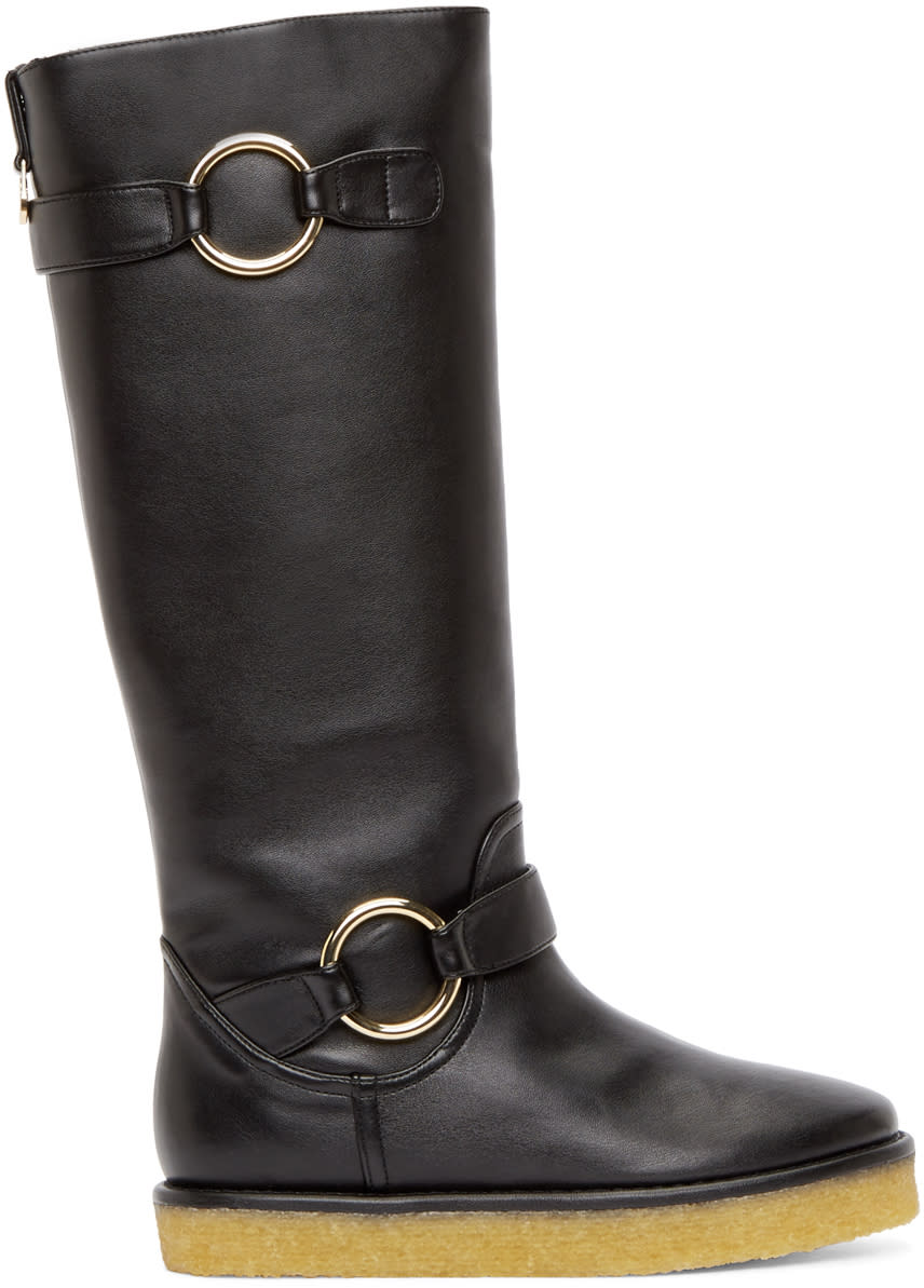 Stella Mccartney Black Crepe Rubber Boots