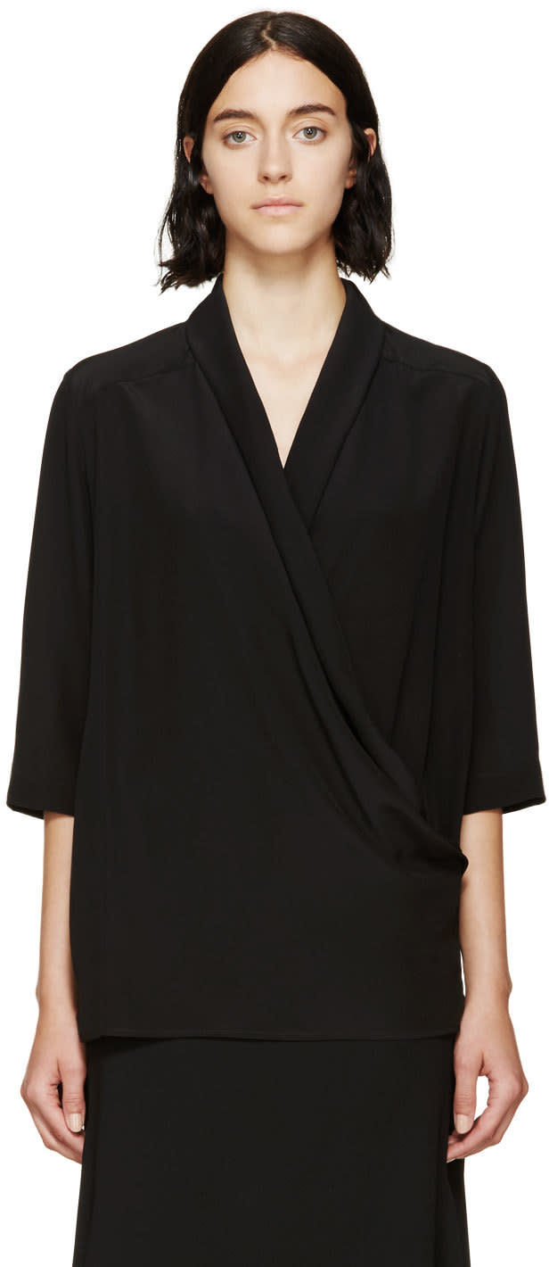 Stella Mccartney Black Silk Draped Wrap Blouse