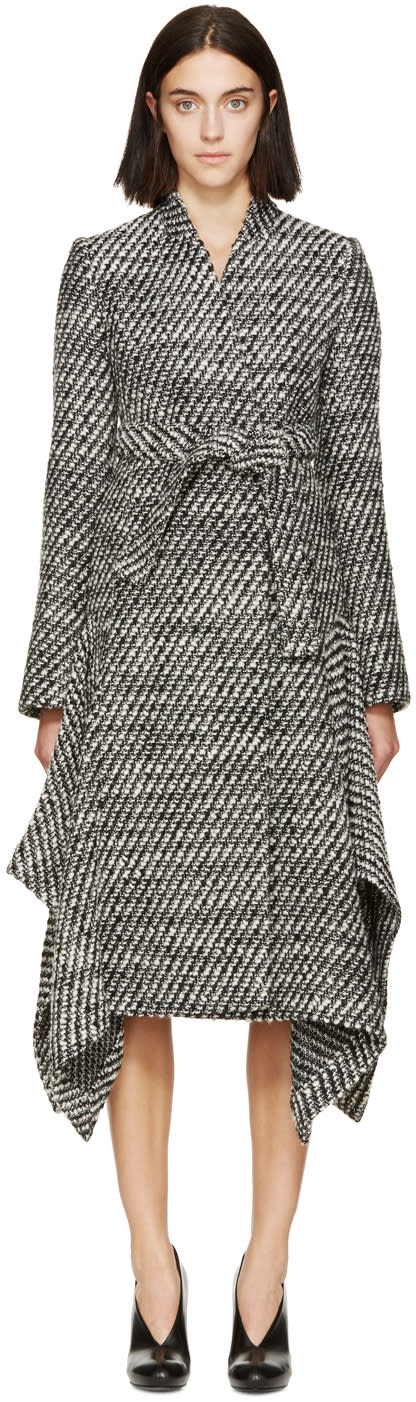 Stella Mccartney Black and White Twill Coat