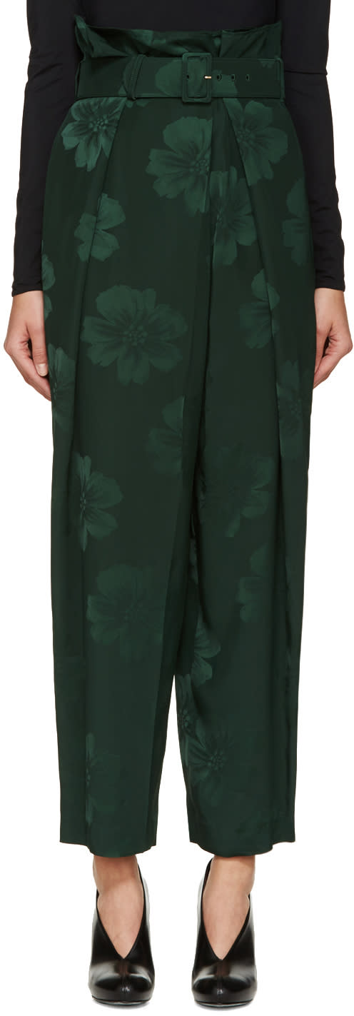 Stella Mccartney Green Floral Jacquard Gathered Trousers