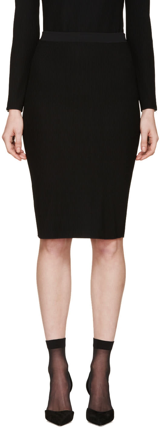 Nina Ricci Black Ribbed Knit Skirt