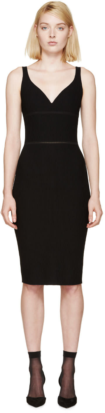 Nina Ricci Black Ribbed Knit Dress