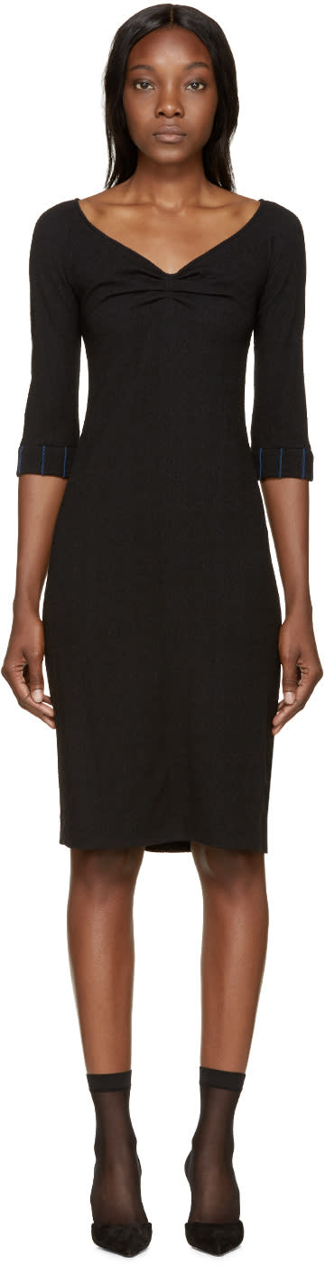 Nina Ricci Black Wool Off-the-shoulder Dress