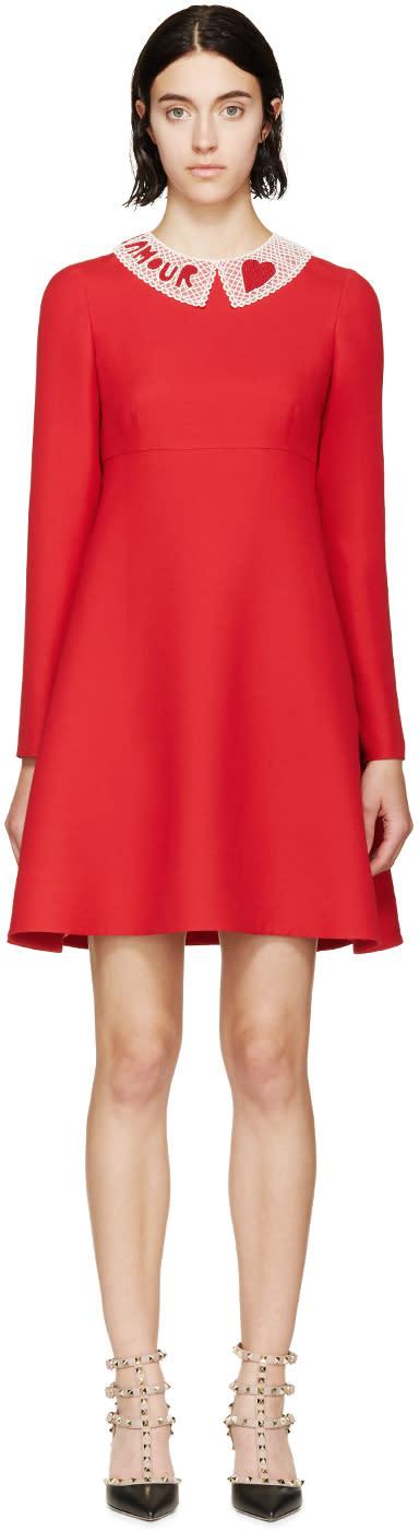 Valentino Red Beaded Collar Dress