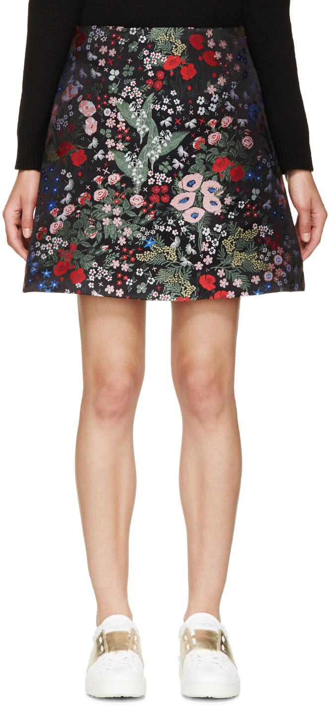 Valentino Black Embroidered Floral Print Skirt