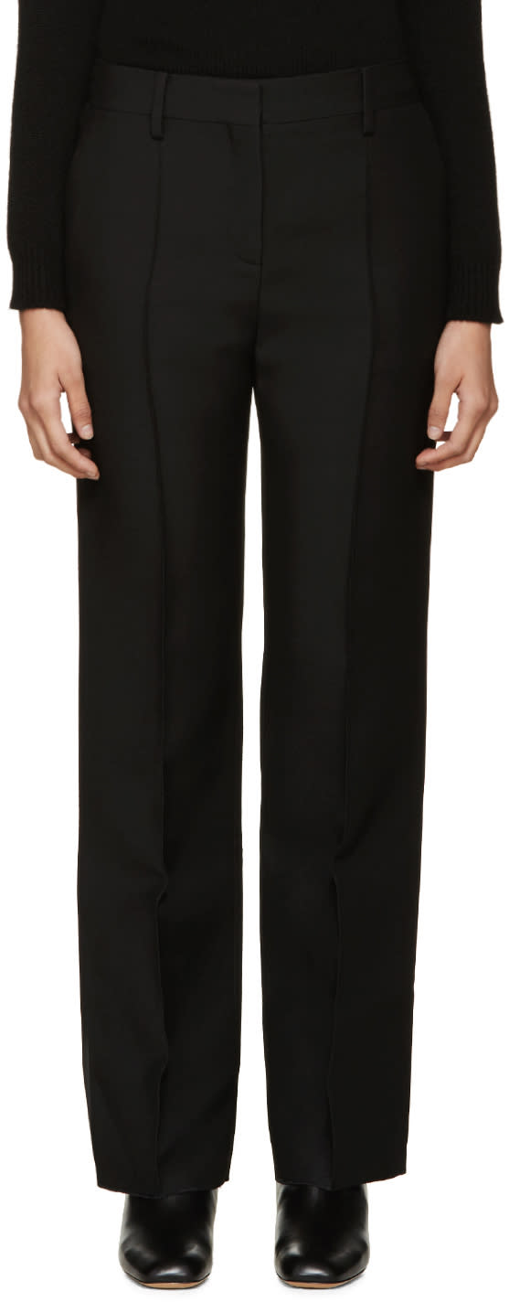 Valentino Black Pintuck Wool Trousers