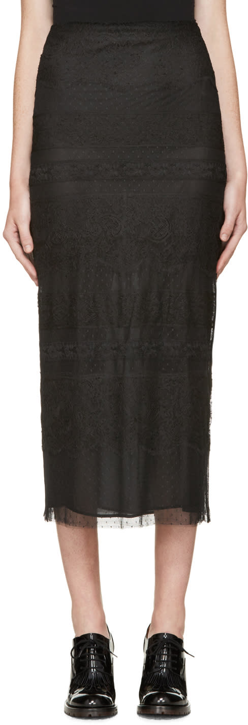 Valentino Black Lace Pencil Skirt