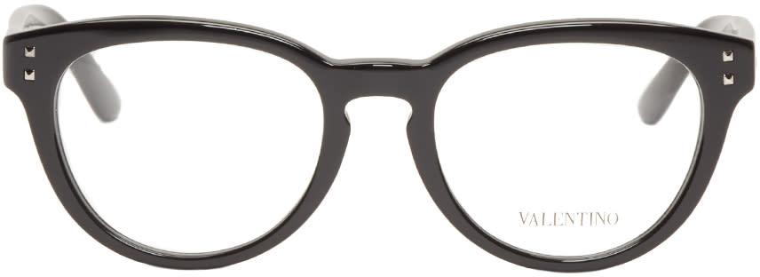 Valentino Black Round Rockstud Optical Glasses