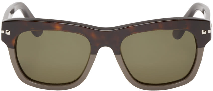 Valentino Brown and Grey Studded Sunglasses