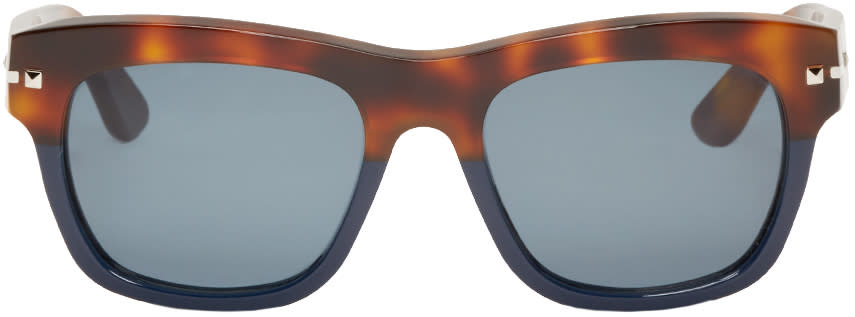 Valentino Brown and Navy Rockstud Sunglasses