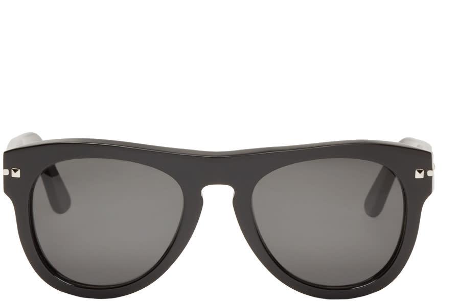 Valentino Black Round Rockstud Sunglasses