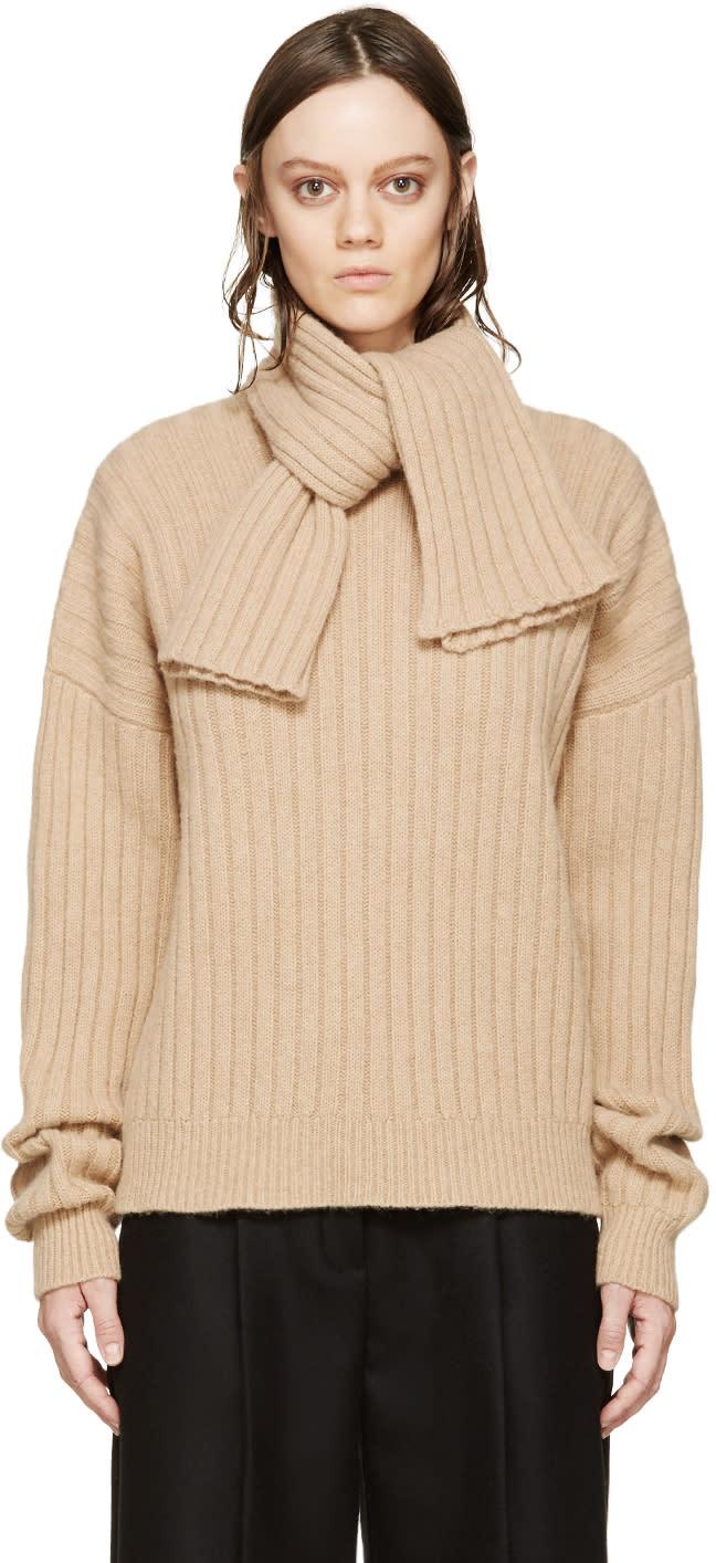 J.w.anderson Beige Knit Scarf Sweater