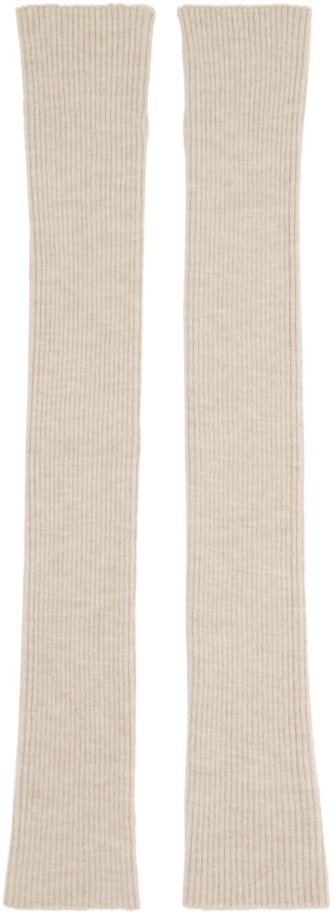 Thamanyah Beige Wool Knit Fingerless Gloves