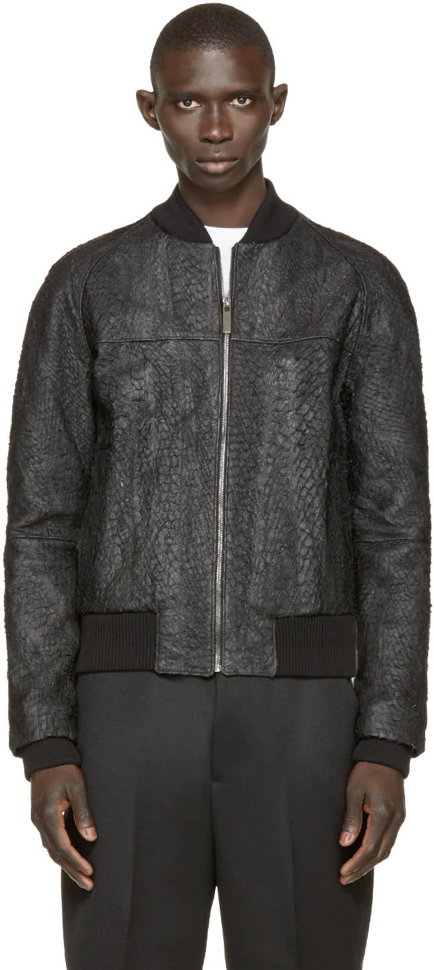 Image of A.sauvage Black Faux Fish Skin Bomber