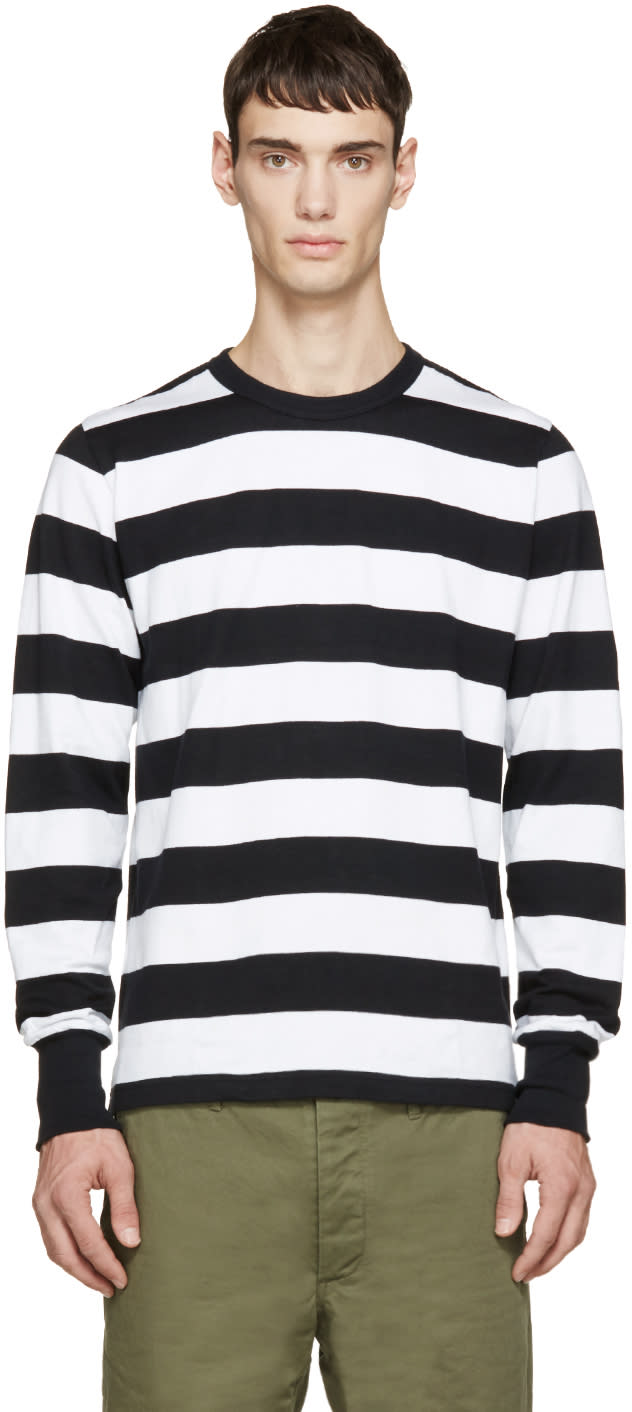 Visvim Black and White Big Border Shirt