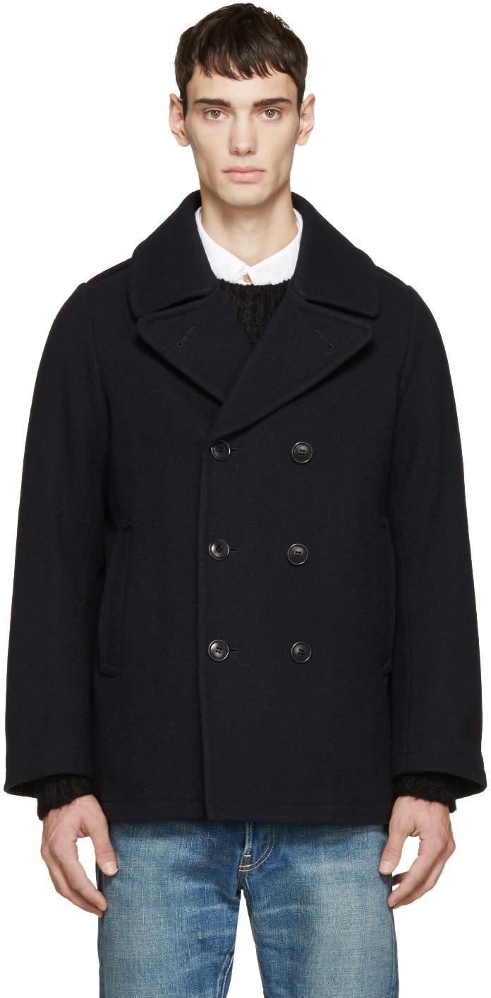 Visvim Navy Vintage Tweed Lieutenant Coat