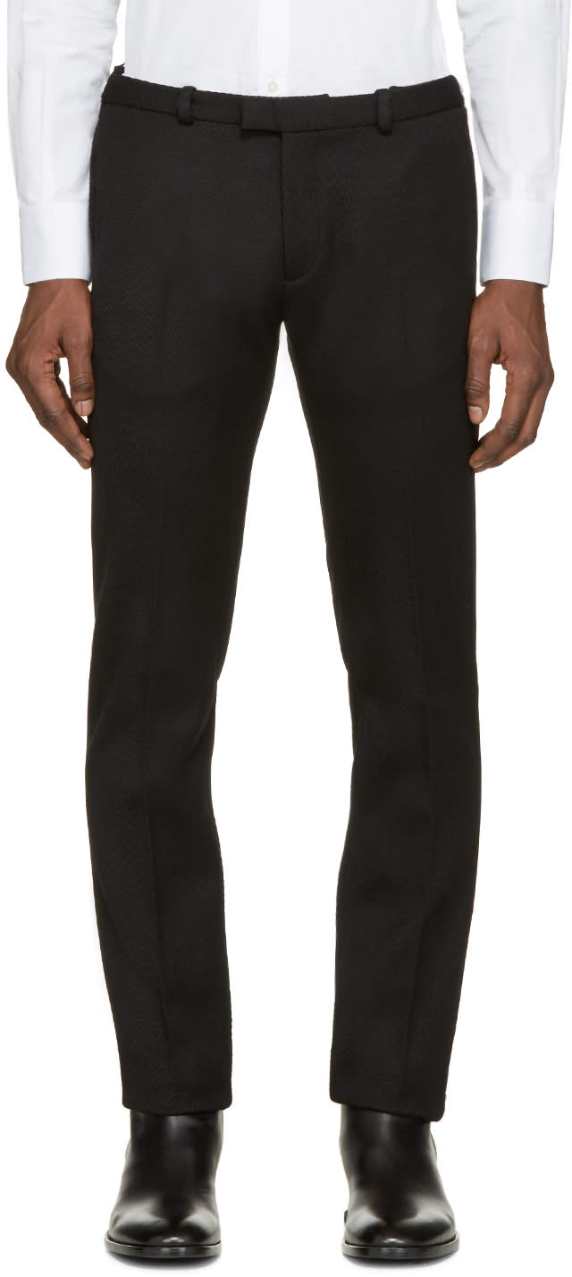 Costume National Black Wool Ribbed Trousers