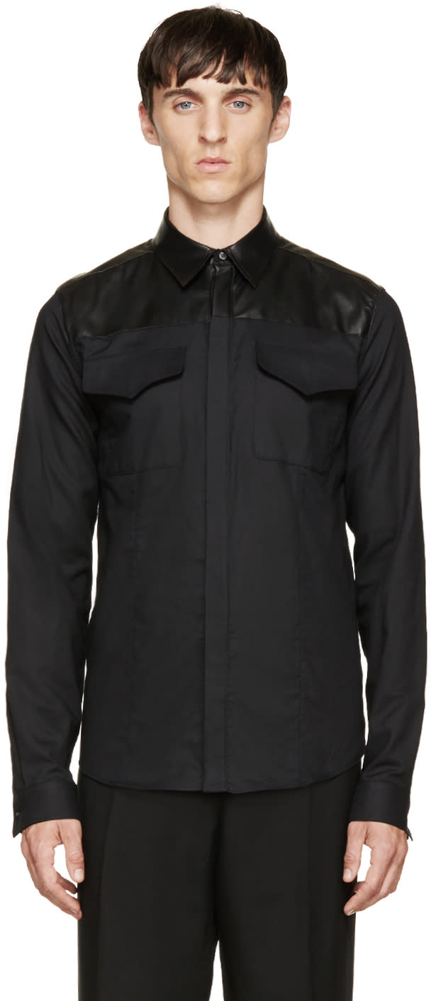 Costume National Black Leather and Cotton Shirt