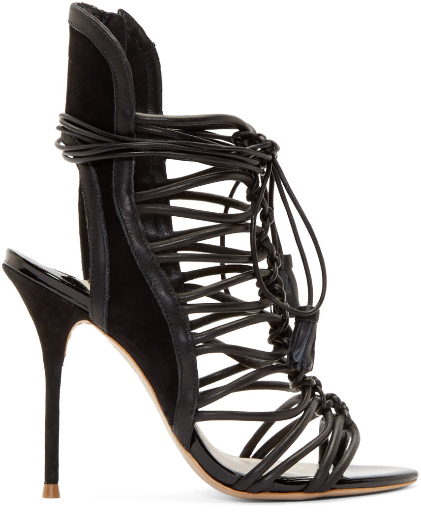 Sophia Webster Black Leather Lacey Heels