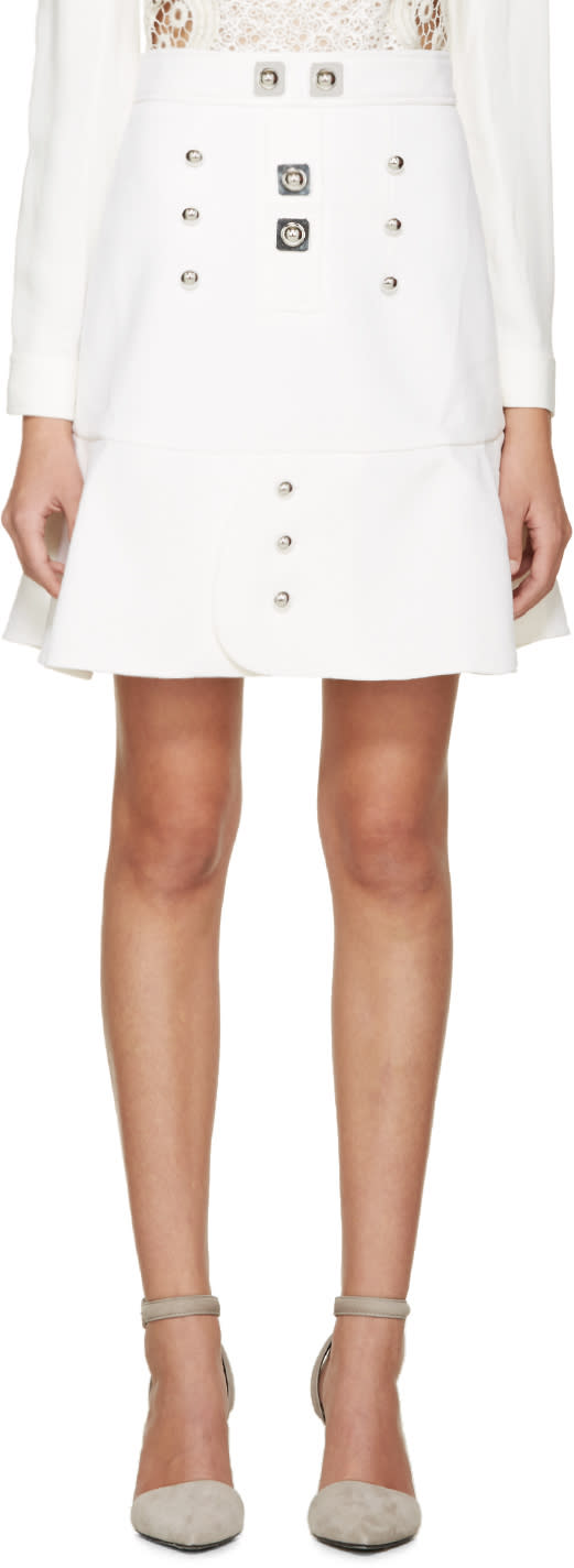 Peter Pilotto White and Silver Tessel Skirt