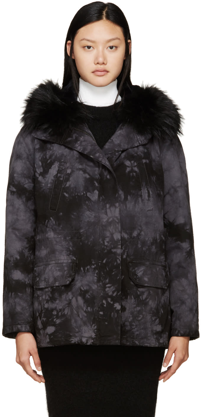 Army By Yves Salomon Black and Grey Tie-dye Fur-lined Parka