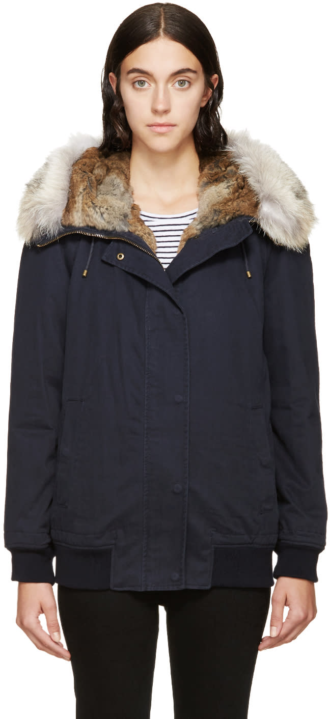 Army By Yves Salomon Navy Fur-trimmed Bomber Jacket