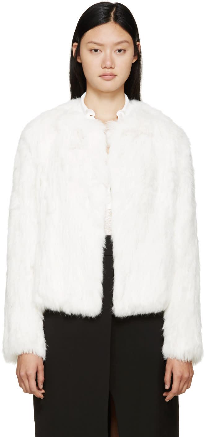 Meteo By Yves Salomon White Knit Fur Jacket