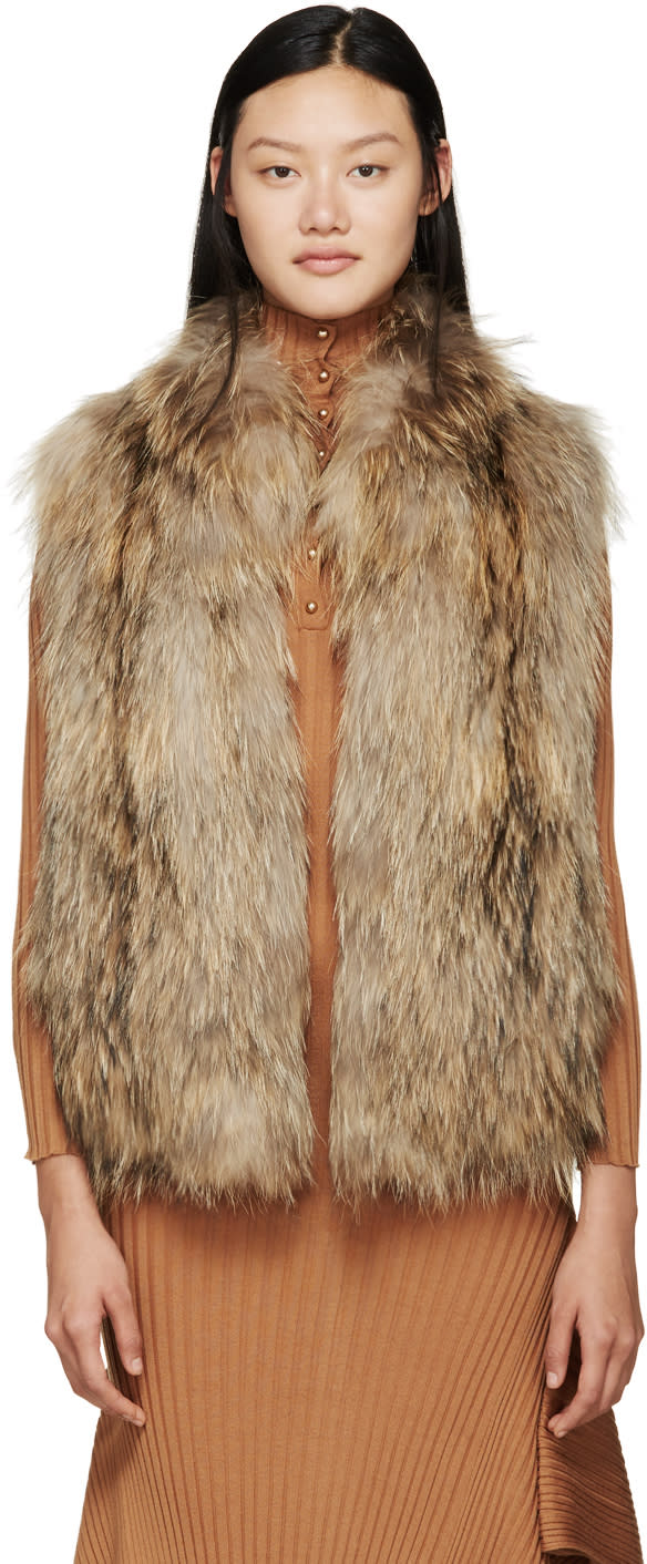 Meteo By Yves Salomon Beige Knit Fur Vest