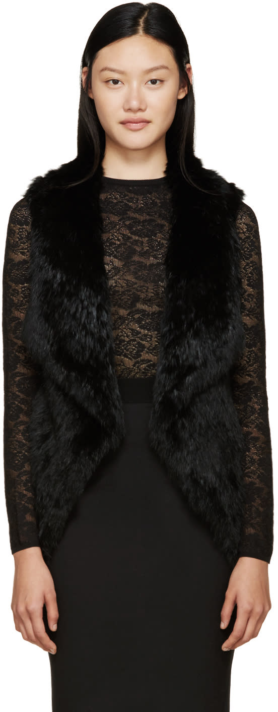 Meteo By Yves Salomon Black Knit Fur Vest