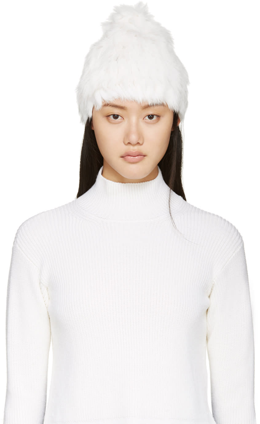 Meteo By Yves Salomon White Knit Rabbit Fur Toque