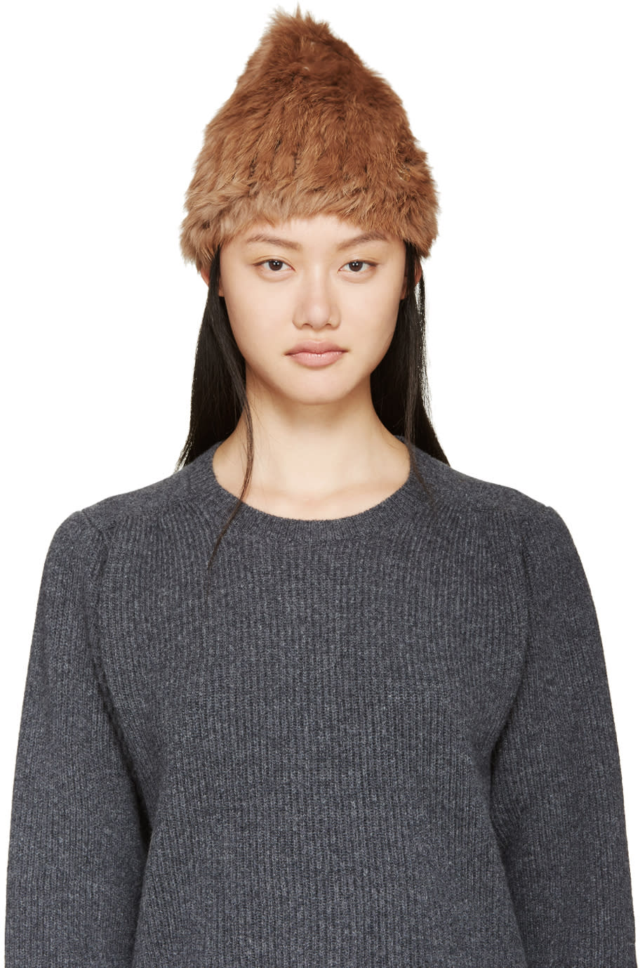 Meteo By Yves Salomon Brown Knit Rabbit Fur Toque