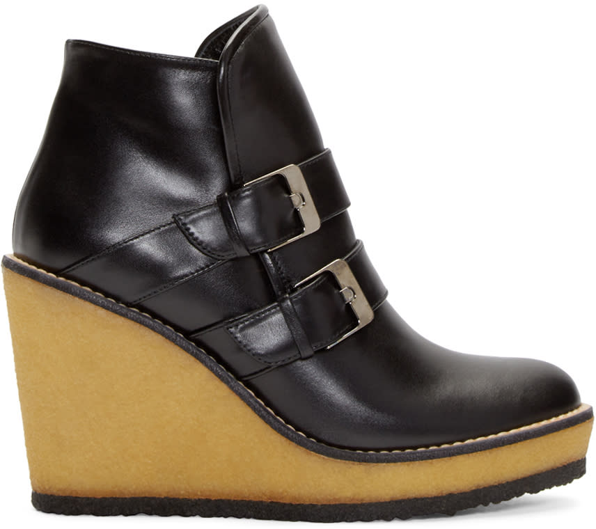 Robert Clergerie Black Leather Avril Wedge Ski Boots